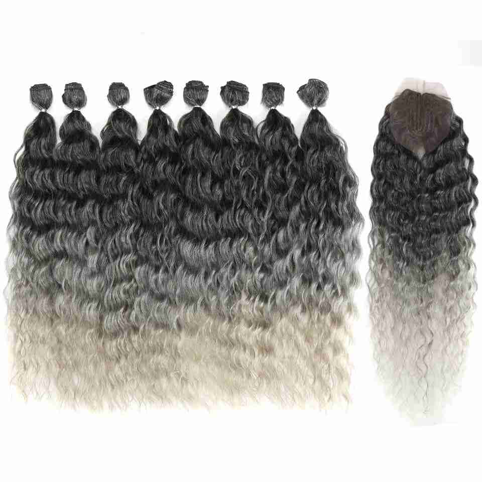Ombre Wavy Synthetic Hair Extensions 9 pcs Set