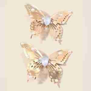 2pcs Delightful Butterfly Shaped Hair Clips