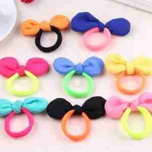 Cute Candy Colour Hair Bows Elastic Hair Bands