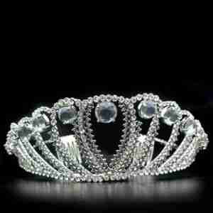 Regal, Imitation Rhodium Brass Tiara, Hair Clip with Top Grade Crystal