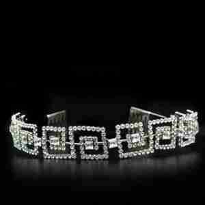 Party Princess Imitation Rhodium Brass Tiaras Hair Clip with Top Grade Crystal